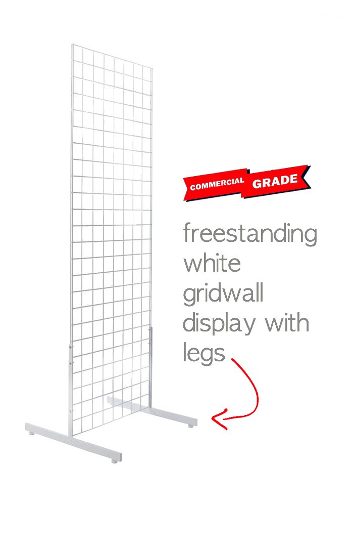 Only Hangers 2' x 6' Gridwall Panel Tower with T-Base Floorstanding Gridwall Display Kit, White Finish