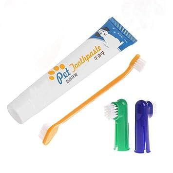 Set de Pasta Dental y Cepillo de Dientes para Mascotas Limpieza Bucal para Perro Herramientas Desodorizantes: Amazon.es: Productos para mascotas