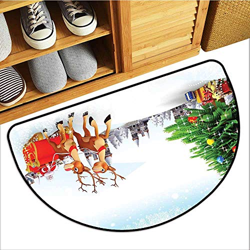 Dog-Cat Mat, Santa Indoor Out-Imdoor Rugs for Kitchen, Snow Covered Christmas Village with Cartoon Santa on His Sleigh Big Tree and Boxes (Multicolor, H20 x D32 Semicircle)