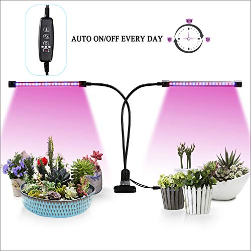 Led Grow Lights,Auto ON/Off Two-Way Timer 20W 40 LED Shengsite Dual Head Growing Light for Indoor Garden Greenhouse Plants,3/9/12H Memory Timing,5 Dimmable Levels,Adjustable Goose Neck Plant Lamp