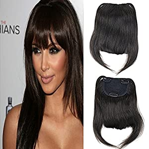Dreambeauty Clip-in Front Hair Bangs Full Fringe Short Straight Hairpieces Brazilian Virgin Human Hair Extensions for women 6-8inch (#2)