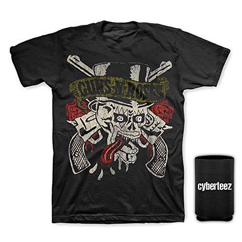 - Cyberteez Guns N Roses Skull & Tongue Logo Distressed Men's T-Shirt + Coolie (M)