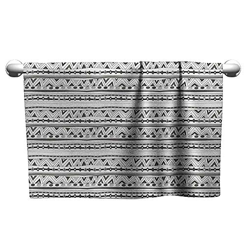 Bensonsve Flowered Native American,Primitive Ancient Aztec with Circles Triangles Tribal Folk Pattern, Charcoal Grey White,Quick Dry Towel for Swimmers