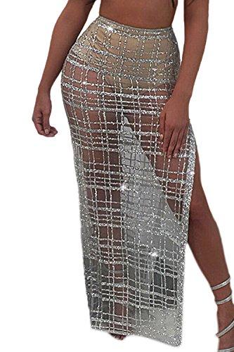 Women's Elegant Plaid Sequins Patchwork Sheer Mesh Slit Long Skirt Silver M