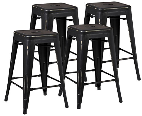 Poly and Bark Trattoria 24 Counter Height Stool in Distressed Black (Set of 4)
