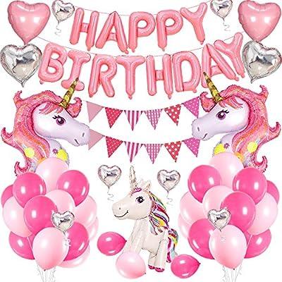 SPECOOL Unicornio Cumpleaños Globos, Decoracion Cumpleaños Rosa Feliz cumpleaños Conjunto de Pancartas Unicornio Globo Fiesta en Globo Decoración ...