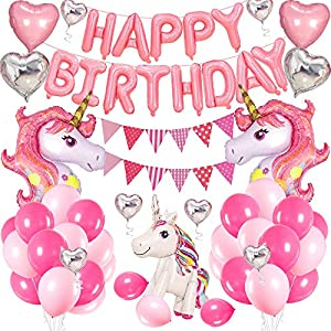 AYUQI Licorne Ballons Anniversaire Décoration, Banderole Joyeux Anniversaire Kit Set-Rose Cute Foil Licorne Cheval Coeur…