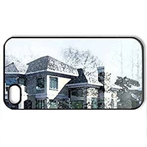 Architecture 3D Designs - Case Cover for iPhone 4 and 4s (Watercolor style, Black)