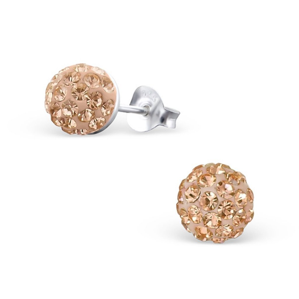 Liara Sterling Silver 925 Round Ear Studs with Crystal Polished and Nickel Free
