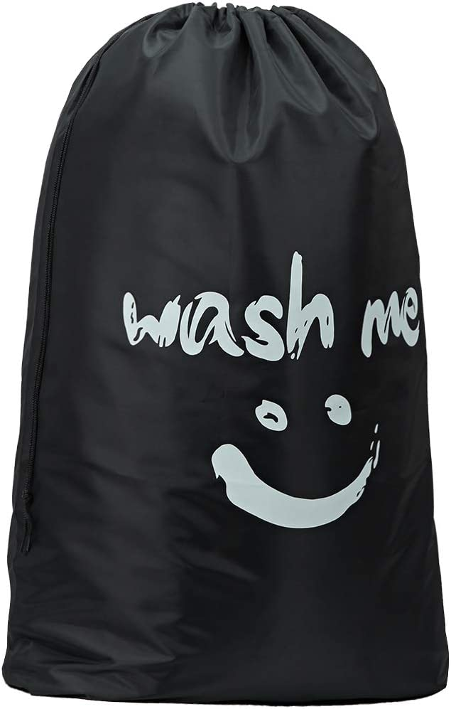 HOMEST XL Wash Me Travel Laundry Bag, Machine Washable Dirty Clothes Organizer, Large Enough to Hold 4 Loads of Laundry, Easy Fit a Laundry Hamper or Basket, Black