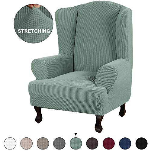 Foam Wing - Turquoize Stretch Sofa Slipcover Sofa Cover Furniture Protector for Wingback Chair Cover 1 Piece Chair Slipcover Featuring Streth Jacquard Fabric with Elastic Bottom Anti-Slip Foam (Wing Chair, Cyan)