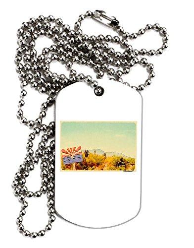 TooLoud Arizona Scene Watercolor Adult Dog Tag Chain Necklace Arizona Diamondbacks Chain Necklace