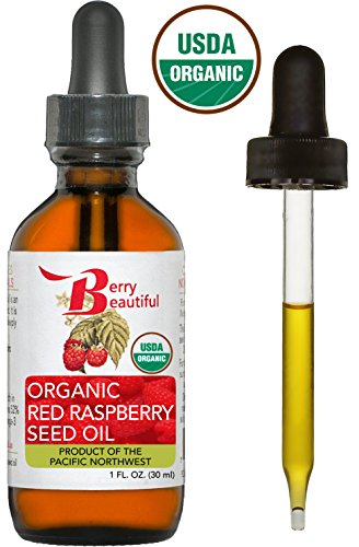 Certified Organic Red Raspberry Seed Oil - Cold Pressed by Berry Beautiful from Organically grown Raspberries - 100% Pure & Unrefined (1 fl oz) (Berries Beautiful)