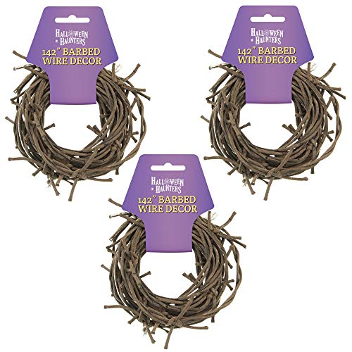 Fake Barbed Wire (Halloween Haunters 35 Foot Length of Fake Rusted Barbed Barb Wire Garland Prop Decoration - Rusty Western Cowboy Safety Fence Theme Soft Touch Barbwire Rope Cord - 3 Pack 142