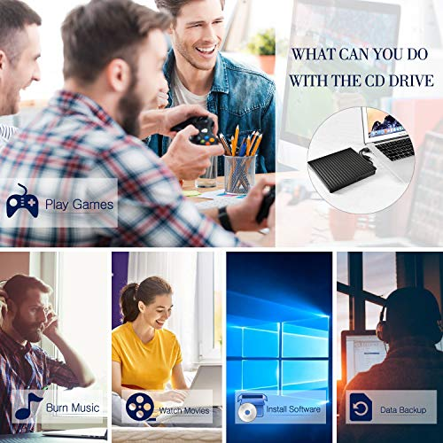 External CD DVD Drive, USB 3.0 and Type-C DVD Drive RW Optical CD Drive Reader Writer Burner for PC Laptop Desktop Mac Windows Linux