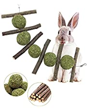 Rabbit Toys, Bunny Chew Toys for Teeth Grinding, 100% Natural Organic Wood Apple Sticks and Timothy Hay Balls Improve Pets Dental Health for Rabbit, Chinchillas, Guinea Pigs, Hamsters, Totoro, Rodent