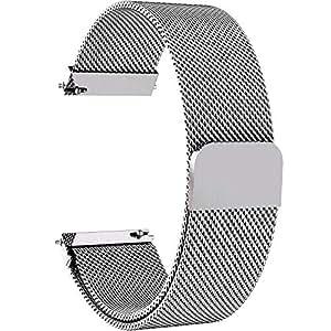 Fullmosa 6 Colores para Correa de Reloj, Milanese Piel Correa Huawei Samsung Correa/Banda/Band/Pulsera/Strap de Recambio/Reemplazo 14mm 16mm 18mm 20mm 22mm 24mm,22mm,Plata
