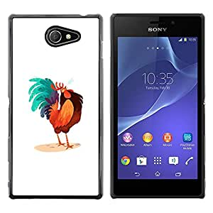 Paccase / SLIM PC / Aliminium Casa Carcasa Funda Case Cover - Rooster Colorful Art Blue Big Tail Drawing - Sony Xperia M2