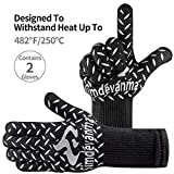 simdevanma Heat Resistant Cooking Gloves-BBQ Grilling-Oven-Big Green Egg- Fireplace Accessories and Welding,Cut Resistant and Forearm Protection (XL(grey))