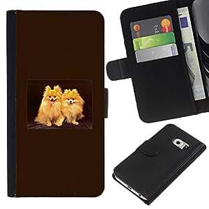 Japanese Spitz Golden Coat Fur Dog - la tarjeta de Crédito Slots PU Funda de cuero Monedero caso cubierta de piel Samsung Galaxy S6 EDGE