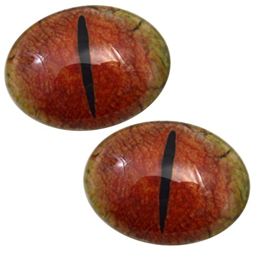 Red and Yellow Dragon Oval Glass Eyes Fantasy Taxidermy Art Doll Making, Fantasy Sculptures or Jewelry Crafts Set of 2 (30mm x 40mm)