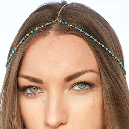 Simsly Gold Head Chains Jewelry with Turquoise Simple Hair Headpiece for Women and Girls FV-064 (Head Chains For Hair)