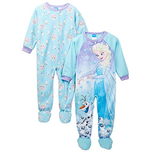 Disney Little Girls' Toddler Frozen Elsa 2-Pack Fleece Blanket Sleeper, Blue, - Fleece Sleeper Disney
