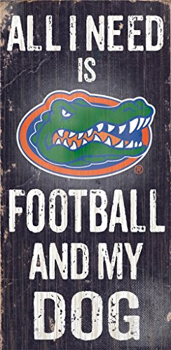 Florida Gators Wood Sign - Football And Dog 6''x12''