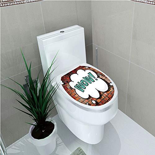 Toilet Applique,Rustic Home Decor,Red Cracked Brick Wall British Backdrop UK English Pop Art Cloud 90s Grunge,Multi,Custom Sticker,W12.6