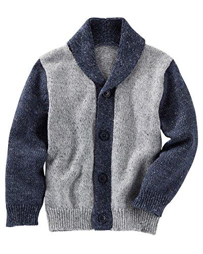 OshKosh B'Gosh Baby Boy's Shawl Collar Cardigan; Marled Blue/Grey (0-3M)