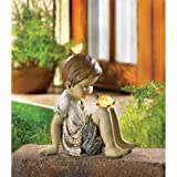 Children Statues Solar Garden Sculptures Concrete Outdoor Decor Angel Resin Lawn Yard Patio Ornament Decorative