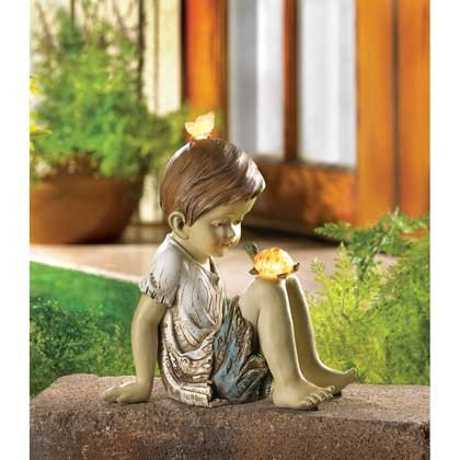 Amazon.com : Children Statues Solar Garden Sculptures Concrete ...