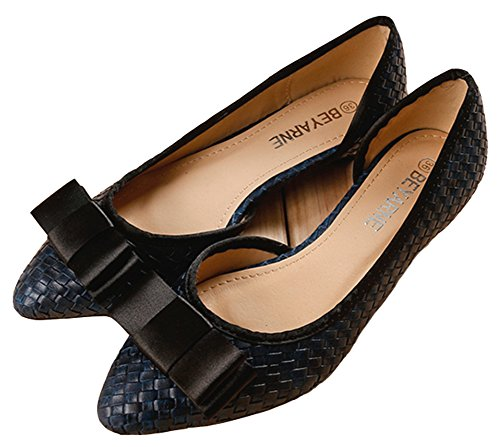 Idifu Moda Para Mujer Arco Puntiagudo Ancho Ancho Slip On Bombas Zapatos Sandalias Azul