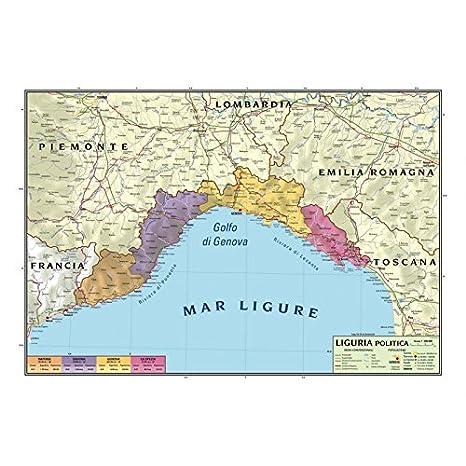 Carta Geografica Murale Regionale Liguria 100x140 Bifacciale Fisica