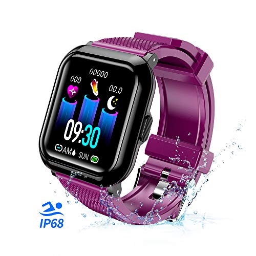 (T-CORE Fitness Tracker Smart Watch, Activity Tracker with Heart Rate Monitor, IP68 Waterproof Fitness Band with Blood Pressure, Step, Calorie Counter, Pedometer Watch for Kids Women and Men -Purple)