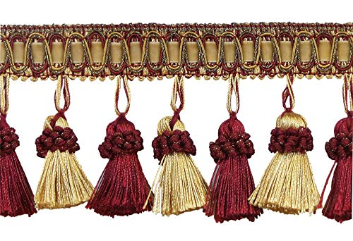DÉCOPRO Elegant 3 Inch Long Vintage Wine (deep red), Gold Tassel Fringe - Carmine Gold 1253 (Sold by The Yard)