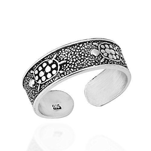 (AeraVida Mythic Marine Turtle Band .925 Sterling Silver Toe Ring or Pinky Ring)