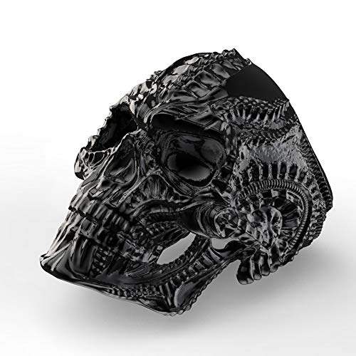 Eejart Stainless Steel Alien Skull Ring, Suitable for Hiphop Biker Men's Domineering Punk Ring, the Premium Fashion Forward Band Ring for Man (Black, -