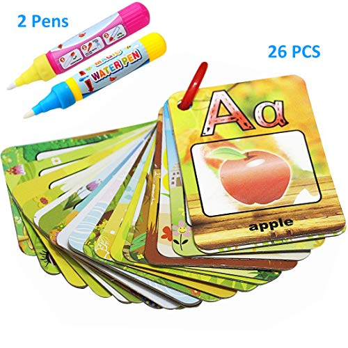 - Kingseye Water Painting Graffiti Book Card 26 Letters Chidren�s Early Education Cognitive Cards A-Z Alphabet Word Colouring Doodle Board + 2 Magic Drawing Pens Games Toy for Toddlers Kids Baby