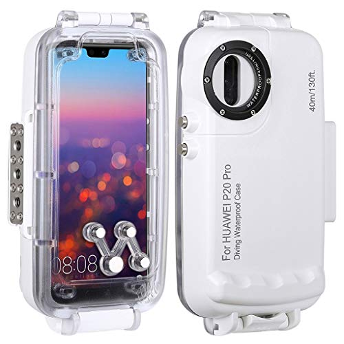 Zhaowei Underwater 40m Diving Explosion-Proof Phone Case with Lanyard for Huawei P20 Pro,for Diving Enthusiast (White)