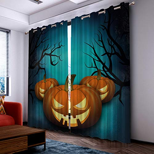 Prime Leader Curtains for Living Room- Darkening Thermal Insulated Window Treatment Curtains, with Grommet Home Decor Halloween Evil Pumpkin (2 Panels, 52 x 52 Inch Each Panel) ()