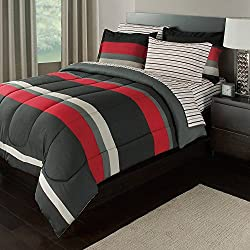 OSD 5pc Boys Rugby Stripes Pattern Comforter Twin Set Sheets, Vibrant Red Black Grey, Sports Striped Theme, Horizontal Sporty Lines Design, Unisex, Polyester Cotton