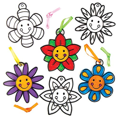 Baker Ross Happy Flower Stained Glass Decorations (Pack of 8) for Kids to Decorate and Display