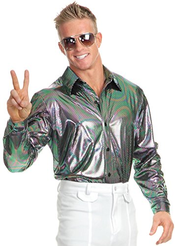 Charades Mens XXL 46-48 Metallic Rainbow 70s Disco Costume ()