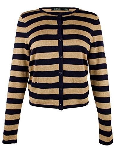 Lauren Ralph Lauren Women's Plus Size Striped Metallic Cardigan Sweater-NG-3X by Lauren by Ralph Lauren