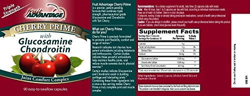 Fruite Advantage Cherry Prime Montmorency Tart Cherry Extract with Glucosamine & Chondroitin - 90 Capsules (Case of 12) by Fruit Advantage (Image #1)