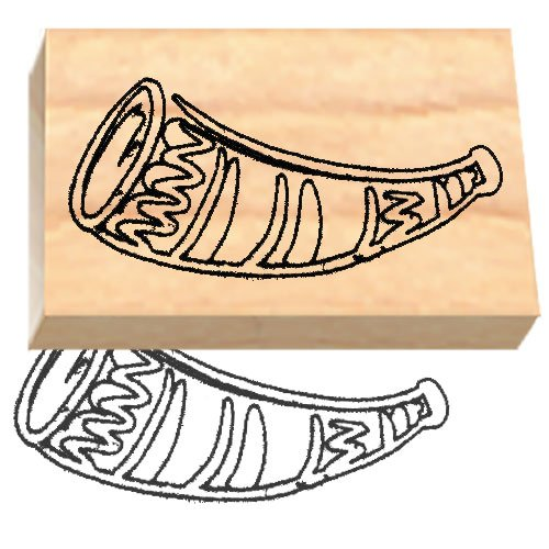 (Ruth's Jewish Stamps Wood Mounted Rubber Stamp - Shofar)