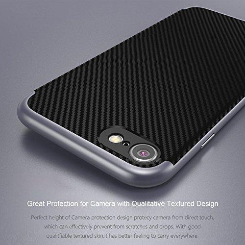 Hülle iPhone 7 , ivencase Prämie Hybride Anti-Kratz Rahmen Bumper Dual-Layer Stoßfest Kohlefaser Schutzhülle für iphone 7
