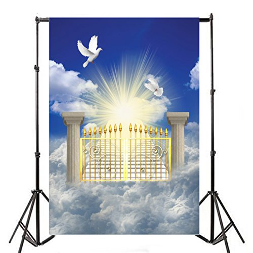 (Yeele 6x9ft Heaven Gateway Backdrops Vinyl Peace Dove Holy Jesus Christian Religious Belief Church Event Photography Background Faith God Heavenly Studio Props)