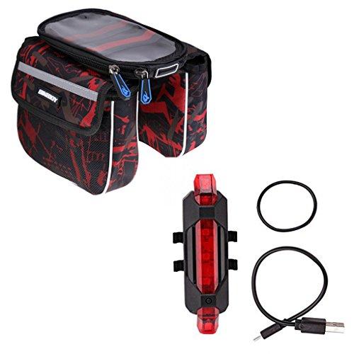 Gazechimp Fahrrad Hintere Lampe , Fahrrad Handy Tasche + Wasserdichte Abdeckung,Gummibänder